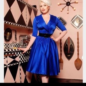 "Pinup Couture Blue silky dress ""birdie"", NEW"
